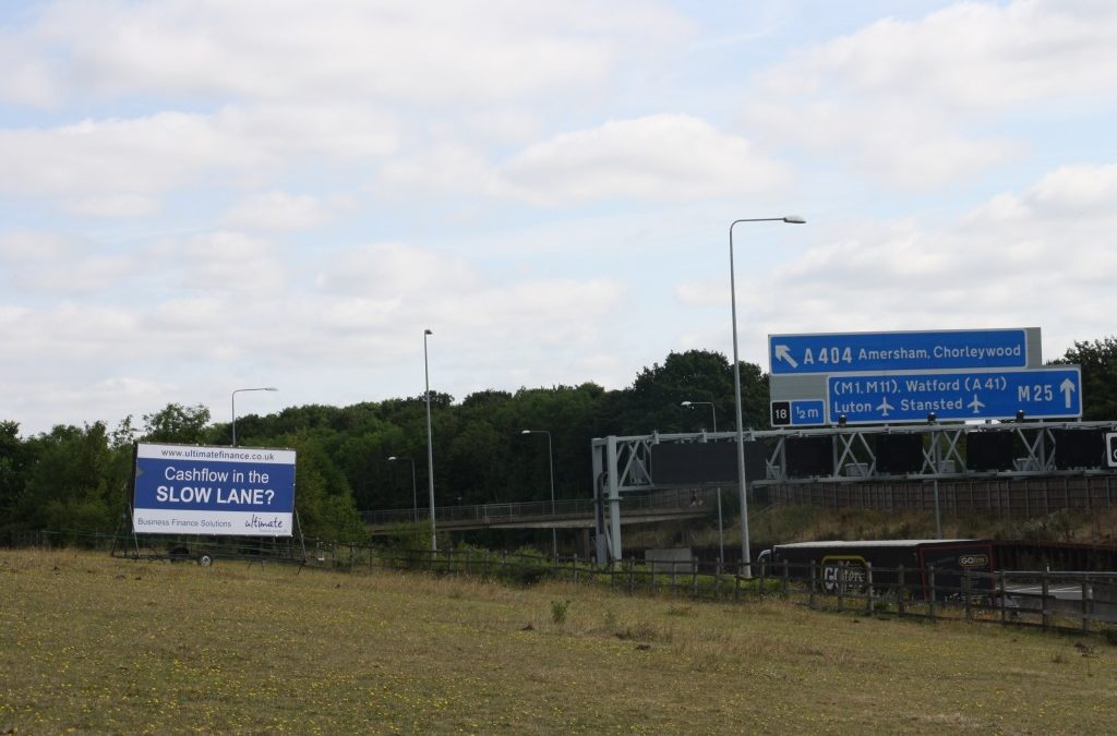 Ultimate Finance – poster on side of M25
